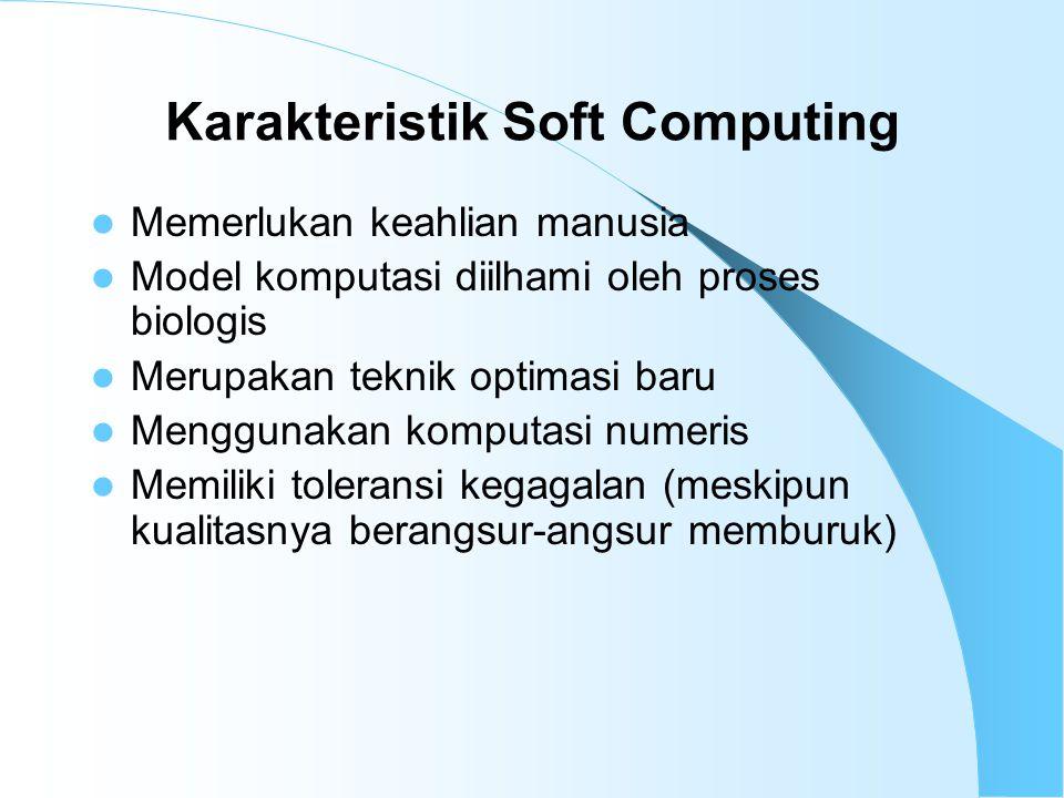 Karakteristik Soft Computing Memerlukan keahlian manusia Model komputasi diilhami oleh proses biologis Merupakan teknik optimasi baru Menggunakan komputasi numeris Memiliki toleransi kegagalan (meskipun kualitasnya berangsur-angsur memburuk)