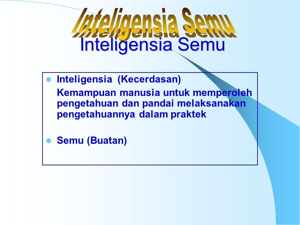 Inteligensia (Kecerdasan) Kemampuan manusia untuk memperoleh pengetahuan dan pandai melaksanakan pengetahuannya dalam praktek Semu (Buatan) Inteligens