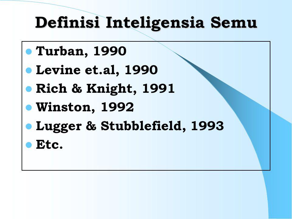 Definisi Inteligensia Semu Turban, 1990 Levine et.al, 1990 Rich & Knight, 1991 Winston, 1992 Lugger & Stubblefield, 1993 Etc.