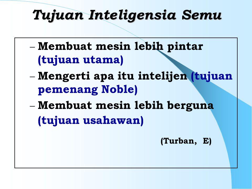 Tujuan Inteligensia Semu – Membuat mesin lebih pintar (tujuan utama) – Mengerti apa itu intelijen (tujuan pemenang Noble) – Membuat mesin lebih berguna (tujuan usahawan) (Turban, E)