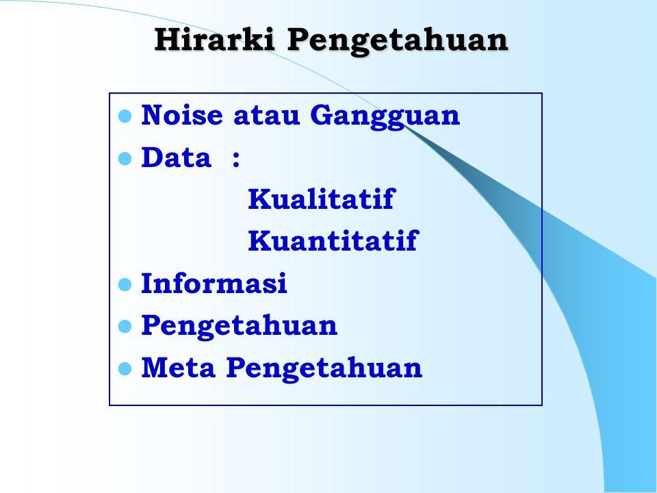 Hirarki Pengetahuan Noise atau Gangguan Data : Kualitatif Kuantitatif Informasi Pengetahuan Meta Pengetahuan
