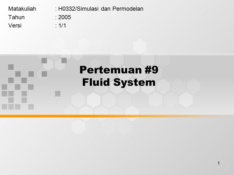 1 Pertemuan #9 Fluid System Matakuliah: H0332/Simulasi dan Permodelan Tahun: 2005 Versi: 1/1