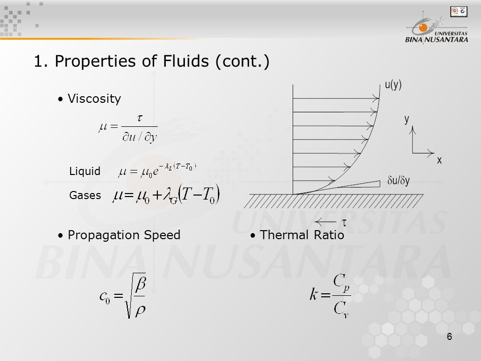 6 Viscosity 1. Properties of Fluids (cont.) Liquid Gases Propagation Speed Thermal Ratio
