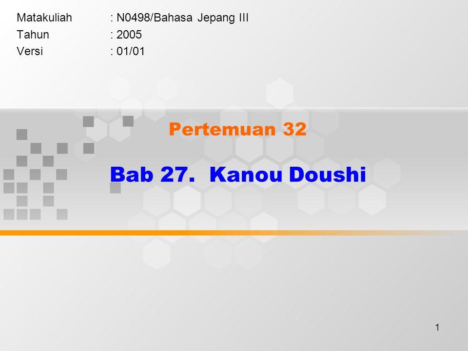 1 Pertemuan 32 Bab 27. Kanou Doushi Matakuliah: N0498/Bahasa Jepang III Tahun: 2005 Versi: 01/01