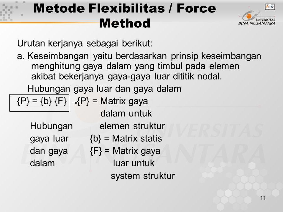 11 Metode Flexibilitas / Force Method Urutan kerjanya sebagai berikut: a. Keseimbangan yaitu berdasarkan prinsip keseimbangan menghitung gaya dalam ya