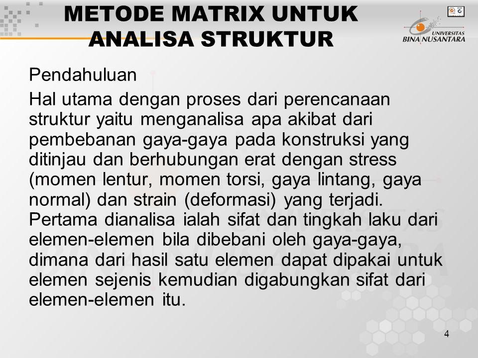 4 METODE MATRIX UNTUK ANALISA STRUKTUR Pendahuluan Hal utama dengan proses dari perencanaan struktur yaitu menganalisa apa akibat dari pembebanan gaya