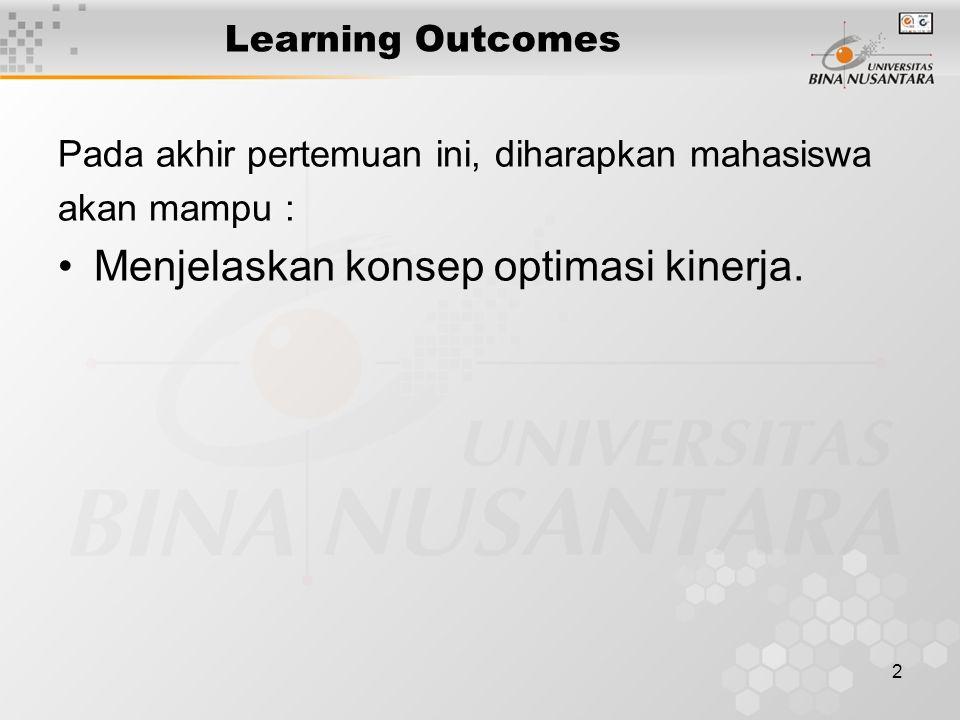 2 Learning Outcomes Pada akhir pertemuan ini, diharapkan mahasiswa akan mampu : Menjelaskan konsep optimasi kinerja.