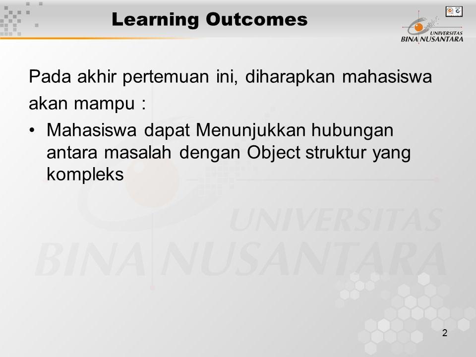 2 Learning Outcomes Pada akhir pertemuan ini, diharapkan mahasiswa akan mampu : Mahasiswa dapat Menunjukkan hubungan antara masalah dengan Object struktur yang kompleks