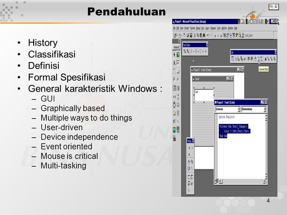 15 Penjelasan IDE Object Browser (F2) Tools yang digunakan untuk mengeksplorasi librari eksternal Local Window Local Window aktif hanya bila program running, menampilkan semua nilai variable yang bersifat lokal bagi suatu module atau procedure