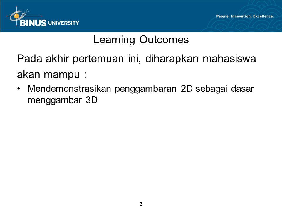 3 Learning Outcomes Pada akhir pertemuan ini, diharapkan mahasiswa akan mampu : Mendemonstrasikan penggambaran 2D sebagai dasar menggambar 3D