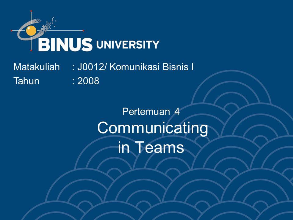 Pertemuan 4 Communicating in Teams Matakuliah: J0012/ Komunikasi Bisnis I Tahun : 2008