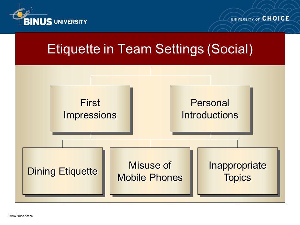 Bina Nusantara Etiquette in Team Settings (Social) Dining Etiquette Misuse of Mobile Phones Misuse of Mobile Phones InappropriateTopicsInappropriateTopics FirstImpressionsFirstImpressionsPersonalIntroductionsPersonalIntroductions