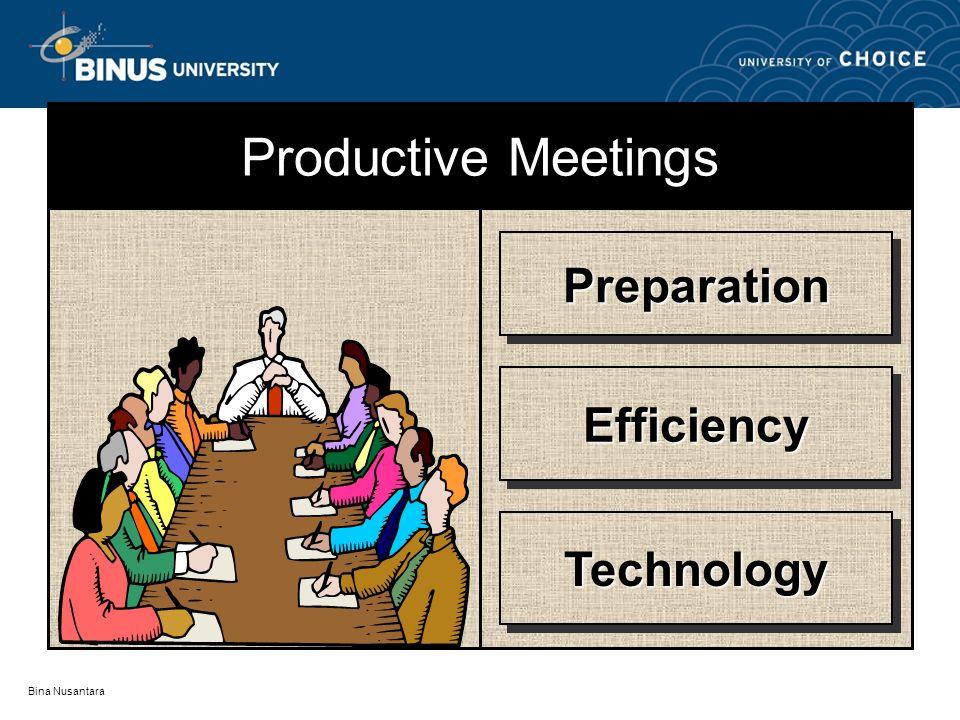 Bina Nusantara PreparationPreparation EfficiencyEfficiency TechnologyTechnology Productive Meetings