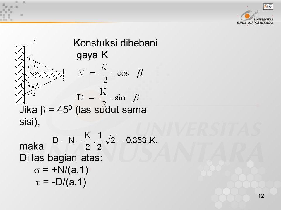 12 Konstuksi dibebani gaya K Jika  = 45 0 (las sudut sama sisi), maka Di las bagian atas:  = +N/(a.1)  = -D/(a.1)