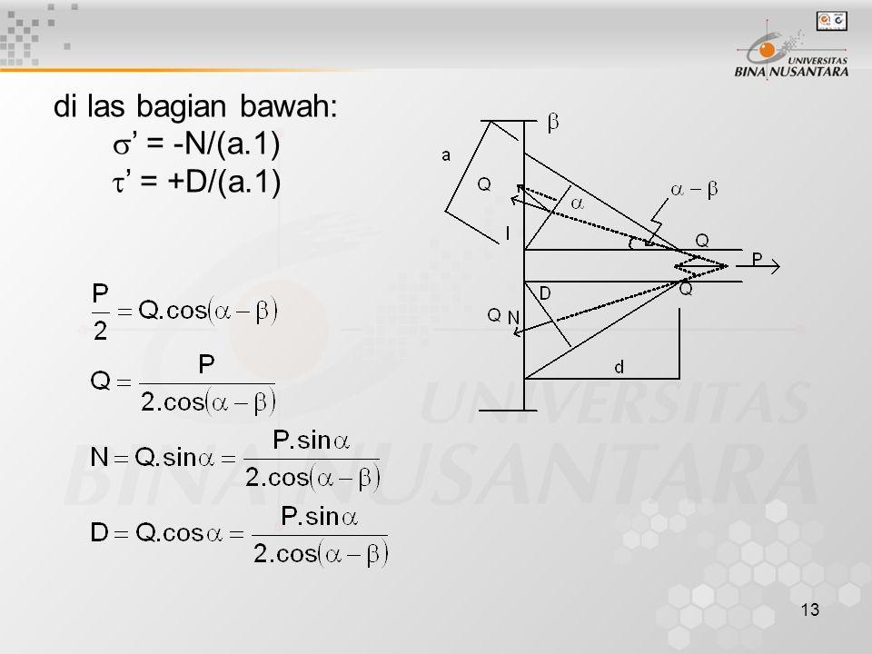 13 di las bagian bawah:  ' = -N/(a.1)  ' = +D/(a.1)