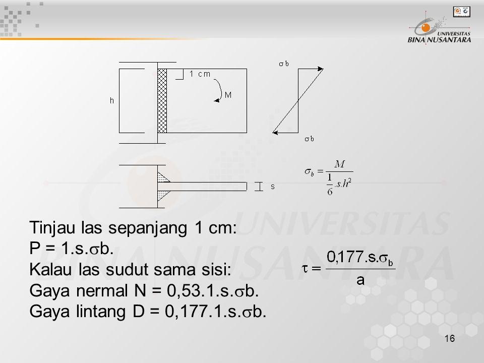 16 Tinjau las sepanjang 1 cm: P = 1.s.  b. Kalau las sudut sama sisi: Gaya nermal N = 0,53.1.s.  b. Gaya lintang D = 0,177.1.s.  b.