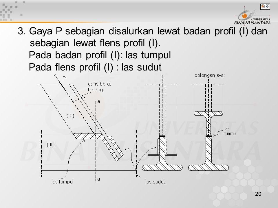 20 3. Gaya P sebagian disalurkan lewat badan profil (I) dan sebagian lewat flens profil (I). Pada badan profil (I): las tumpul Pada flens profil (I) :