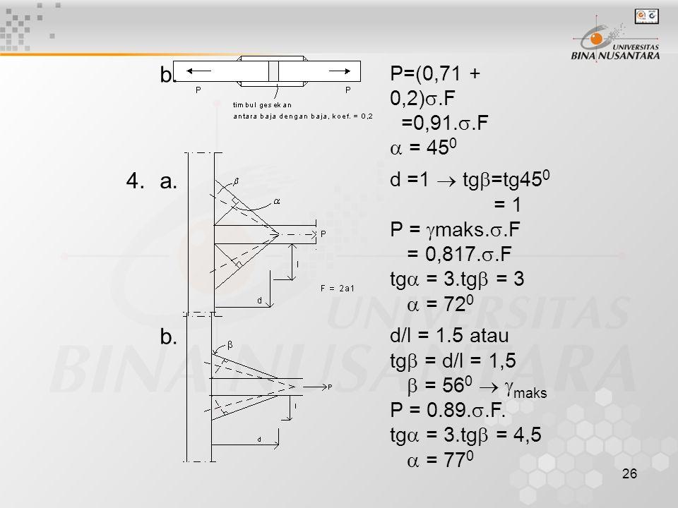 26 b. P=(0,71 + 0,2) .F =0,91. .F  = 45 0 4.a. d =1  tg  =tg45 0 = 1 P =  maks. .F = 0,817. .F tg  = 3.tg  = 3  = 72 0 b. d/l = 1.5 atau tg