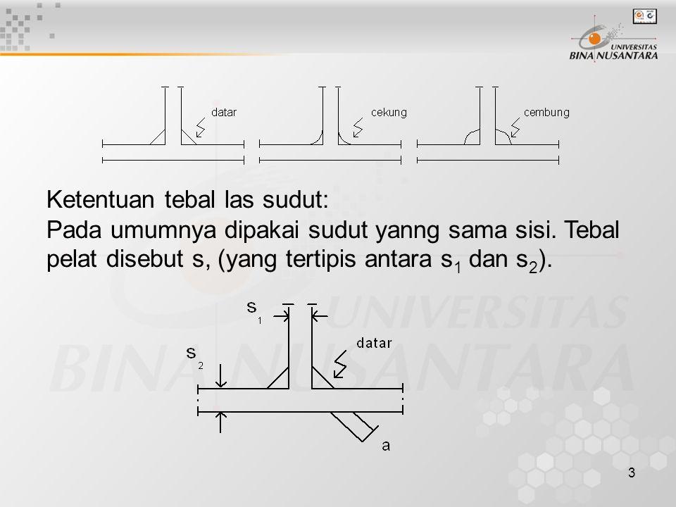 3 Ketentuan tebal las sudut: Pada umumnya dipakai sudut yanng sama sisi. Tebal pelat disebut s, (yang tertipis antara s 1 dan s 2 ).