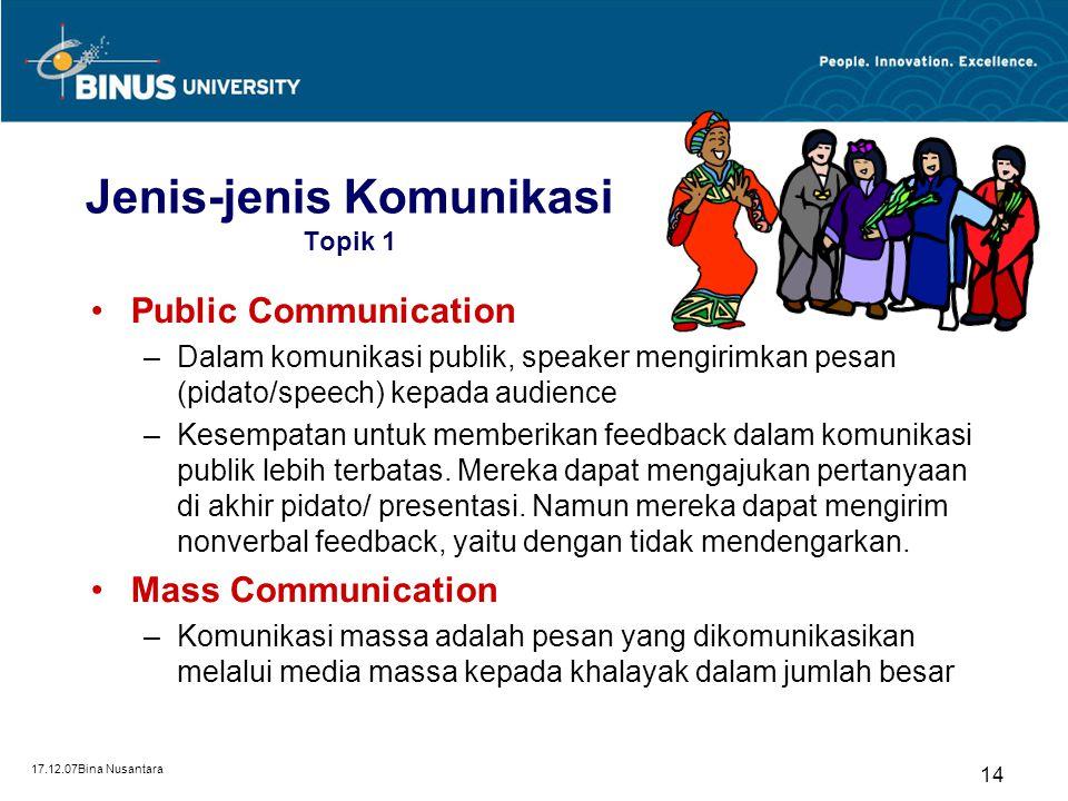 17.12.07Bina Nusantara 14 Jenis-jenis Komunikasi Topik 1 Public Communication –Dalam komunikasi publik, speaker mengirimkan pesan (pidato/speech) kepa