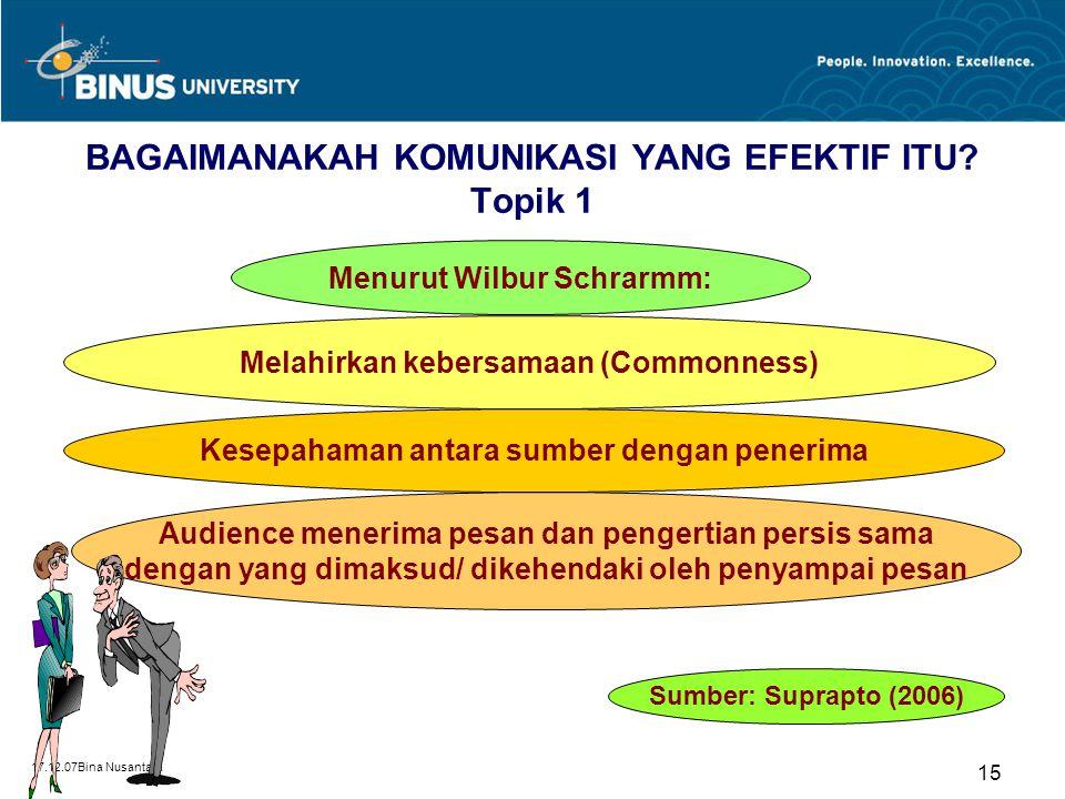 17.12.07Bina Nusantara 15 BAGAIMANAKAH KOMUNIKASI YANG EFEKTIF ITU? Topik 1 Melahirkan kebersamaan (Commonness) Audience menerima pesan dan pengertian