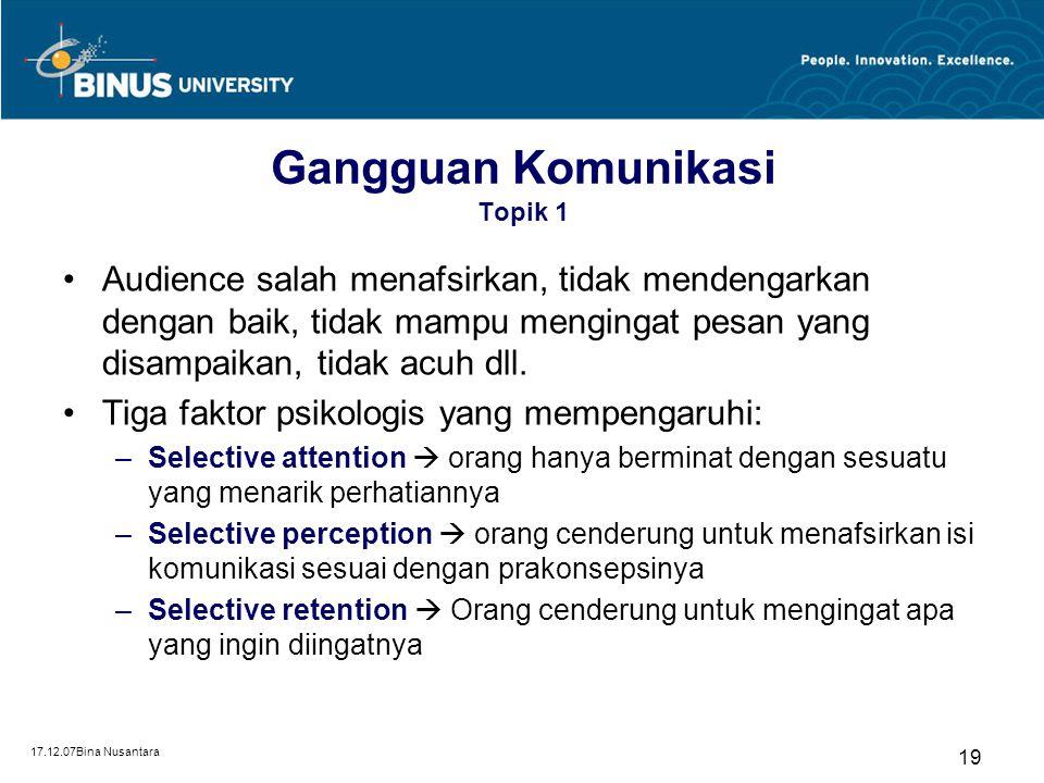 17.12.07Bina Nusantara 19 Gangguan Komunikasi Topik 1 Audience salah menafsirkan, tidak mendengarkan dengan baik, tidak mampu mengingat pesan yang dis