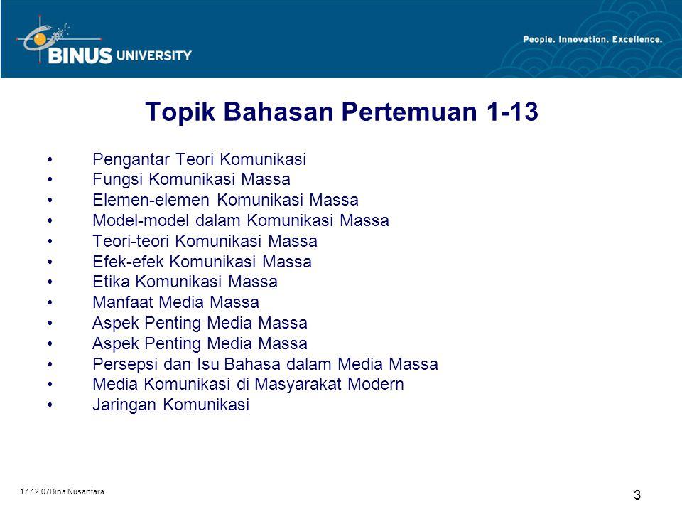 17.12.07Bina Nusantara 3 Topik Bahasan Pertemuan 1-13 Pengantar Teori Komunikasi Fungsi Komunikasi Massa Elemen-elemen Komunikasi Massa Model-model da