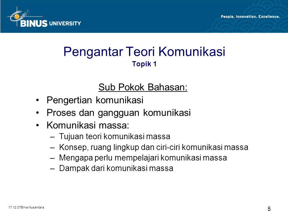17.12.07Bina Nusantara 5 Pengantar Teori Komunikasi Topik 1 Sub Pokok Bahasan: Pengertian komunikasi Proses dan gangguan komunikasi Komunikasi massa: