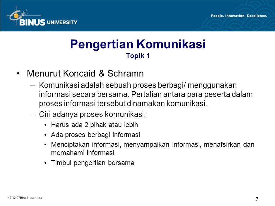 17.12.07Bina Nusantara 7 Pengertian Komunikasi Topik 1 Menurut Koncaid & Schramn –Komunikasi adalah sebuah proses berbagi/ menggunakan informasi secar