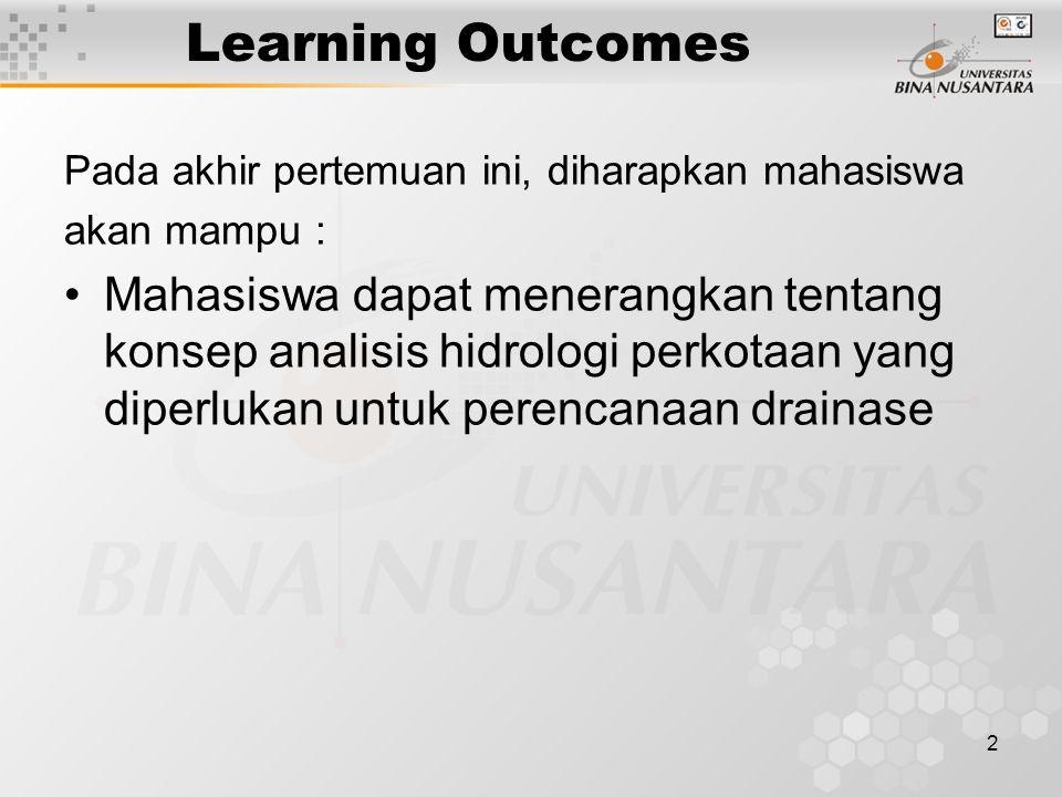 2 Learning Outcomes Pada akhir pertemuan ini, diharapkan mahasiswa akan mampu : Mahasiswa dapat menerangkan tentang konsep analisis hidrologi perkotaa