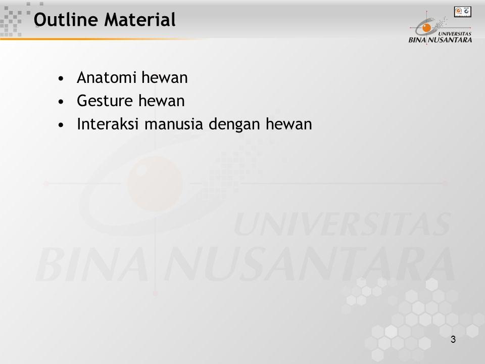 3 Outline Material Anatomi hewan Gesture hewan Interaksi manusia dengan hewan