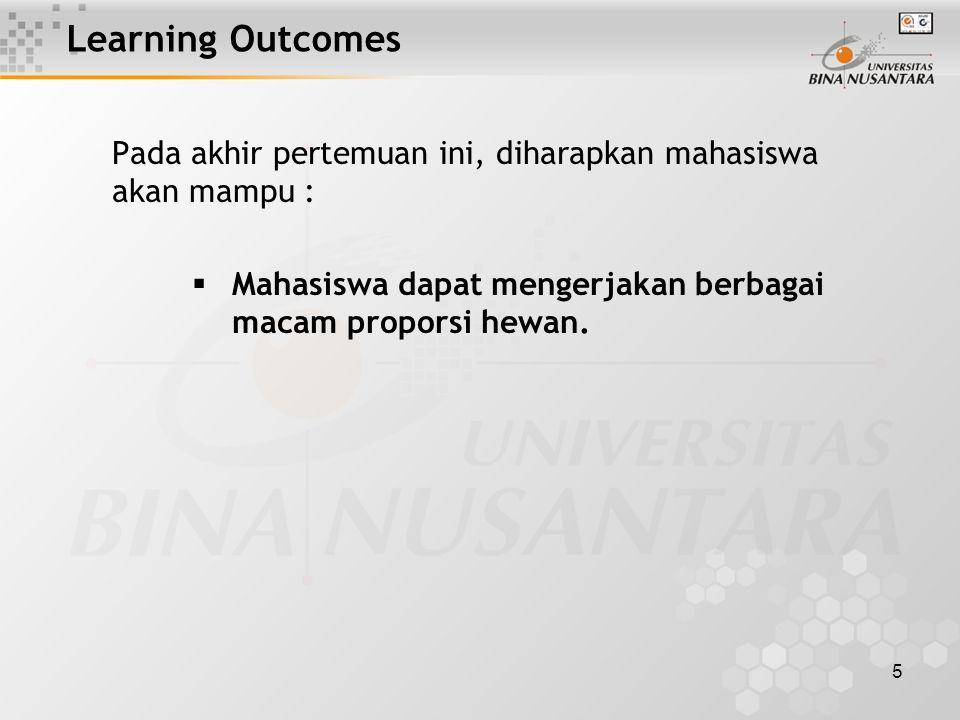 5 Learning Outcomes Pada akhir pertemuan ini, diharapkan mahasiswa akan mampu :  Mahasiswa dapat mengerjakan berbagai macam proporsi hewan.