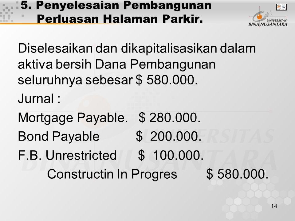 14 5. Penyelesaian Pembangunan Perluasan Halaman Parkir. Diselesaikan dan dikapitalisasikan dalam aktiva bersih Dana Pembangunan seluruhnya sebesar $