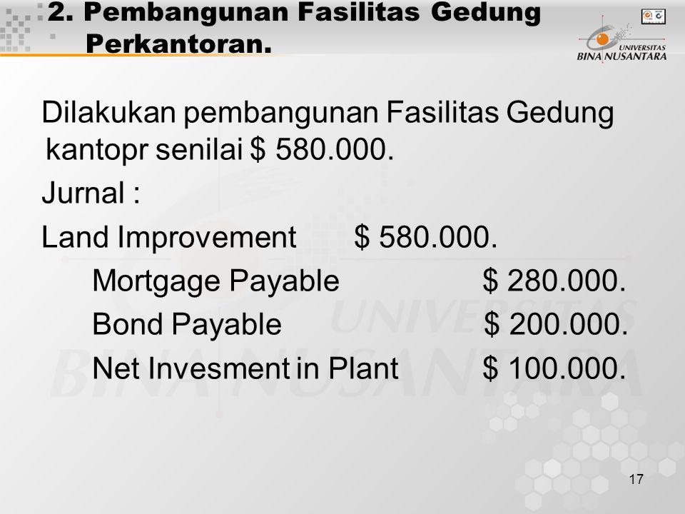 17 2. Pembangunan Fasilitas Gedung Perkantoran. Dilakukan pembangunan Fasilitas Gedung kantopr senilai $ 580.000. Jurnal : Land Improvement $ 580.000.