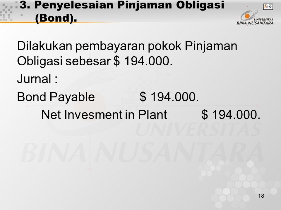 18 3. Penyelesaian Pinjaman Obligasi (Bond). Dilakukan pembayaran pokok Pinjaman Obligasi sebesar $ 194.000. Jurnal : Bond Payable $ 194.000. Net Inve
