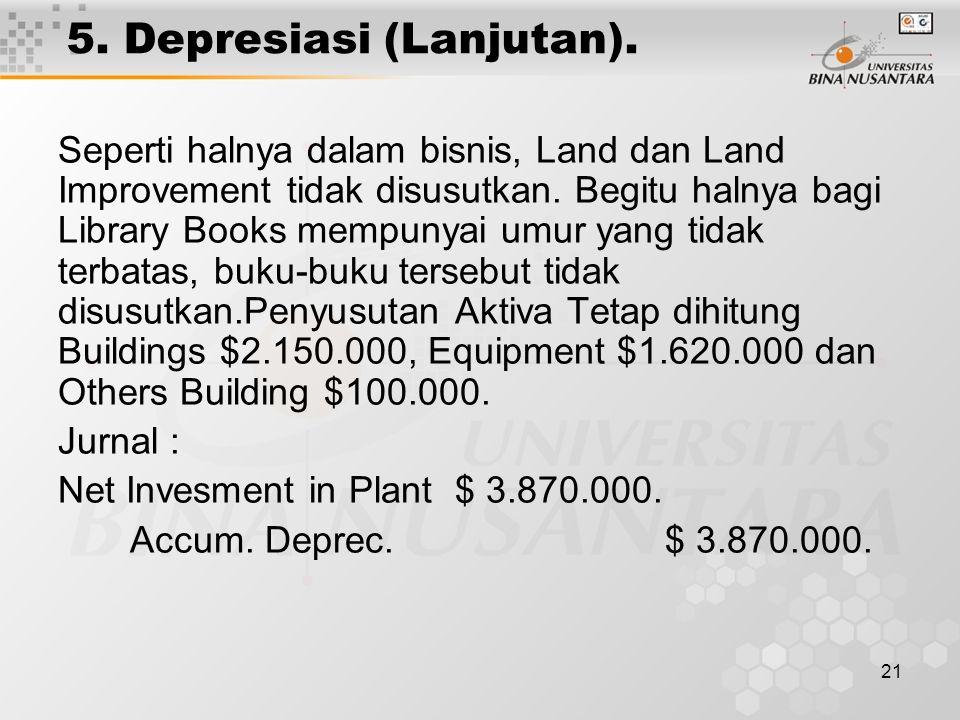 21 5. Depresiasi (Lanjutan). Seperti halnya dalam bisnis, Land dan Land Improvement tidak disusutkan. Begitu halnya bagi Library Books mempunyai umur