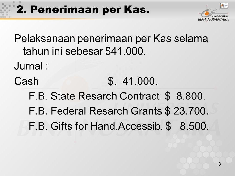 3 2. Penerimaan per Kas. Pelaksanaan penerimaan per Kas selama tahun ini sebesar $41.000. Jurnal : Cash $. 41.000. F.B. State Resarch Contract $ 8.800