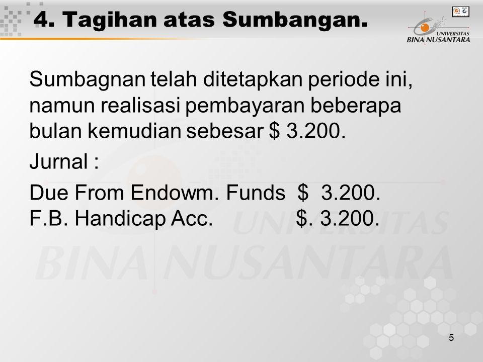5 4. Tagihan atas Sumbangan. Sumbagnan telah ditetapkan periode ini, namun realisasi pembayaran beberapa bulan kemudian sebesar $ 3.200. Jurnal : Due