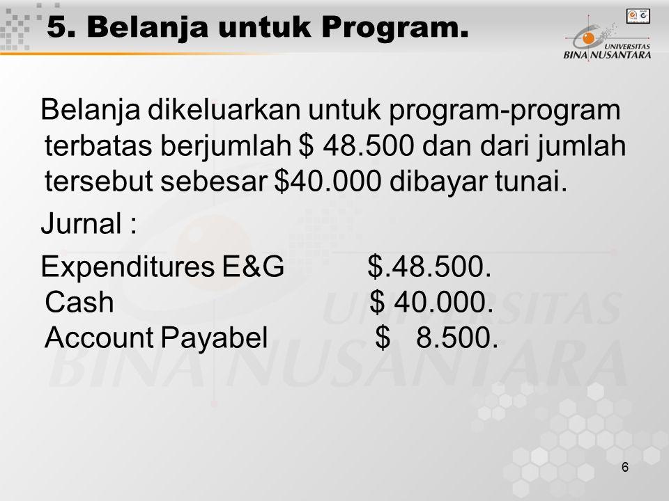 6 5. Belanja untuk Program. Belanja dikeluarkan untuk program-program terbatas berjumlah $ 48.500 dan dari jumlah tersebut sebesar $40.000 dibayar tun