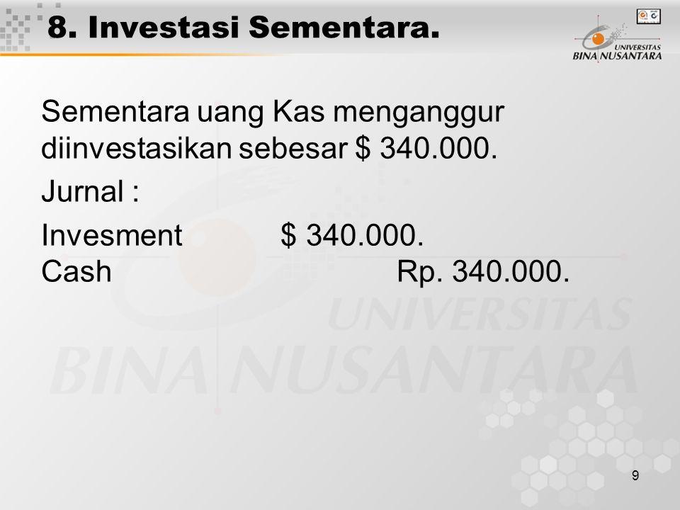 9 8. Investasi Sementara. Sementara uang Kas menganggur diinvestasikan sebesar $ 340.000. Jurnal : Invesment $ 340.000. Cash Rp. 340.000.