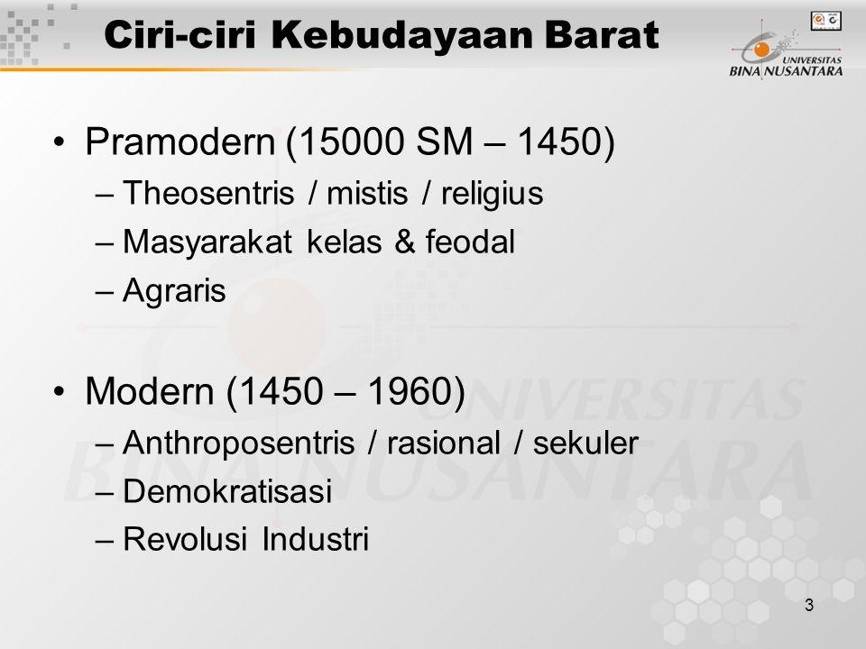 3 Ciri-ciri Kebudayaan Barat Pramodern (15000 SM – 1450) –Theosentris / mistis / religius –Masyarakat kelas & feodal –Agraris Modern (1450 – 1960) –Anthroposentris / rasional / sekuler –Demokratisasi –Revolusi Industri