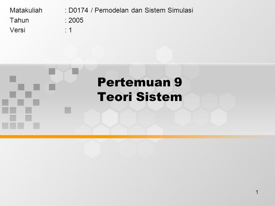 1 Pertemuan 9 Teori Sistem Matakuliah: D0174 / Pemodelan dan Sistem Simulasi Tahun: 2005 Versi: 1