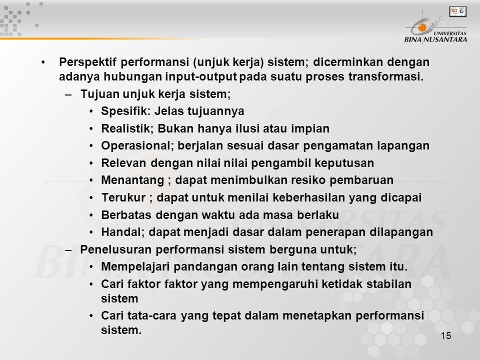 15 Perspektif performansi (unjuk kerja) sistem; dicerminkan dengan adanya hubungan input-output pada suatu proses transformasi. –Tujuan unjuk kerja si