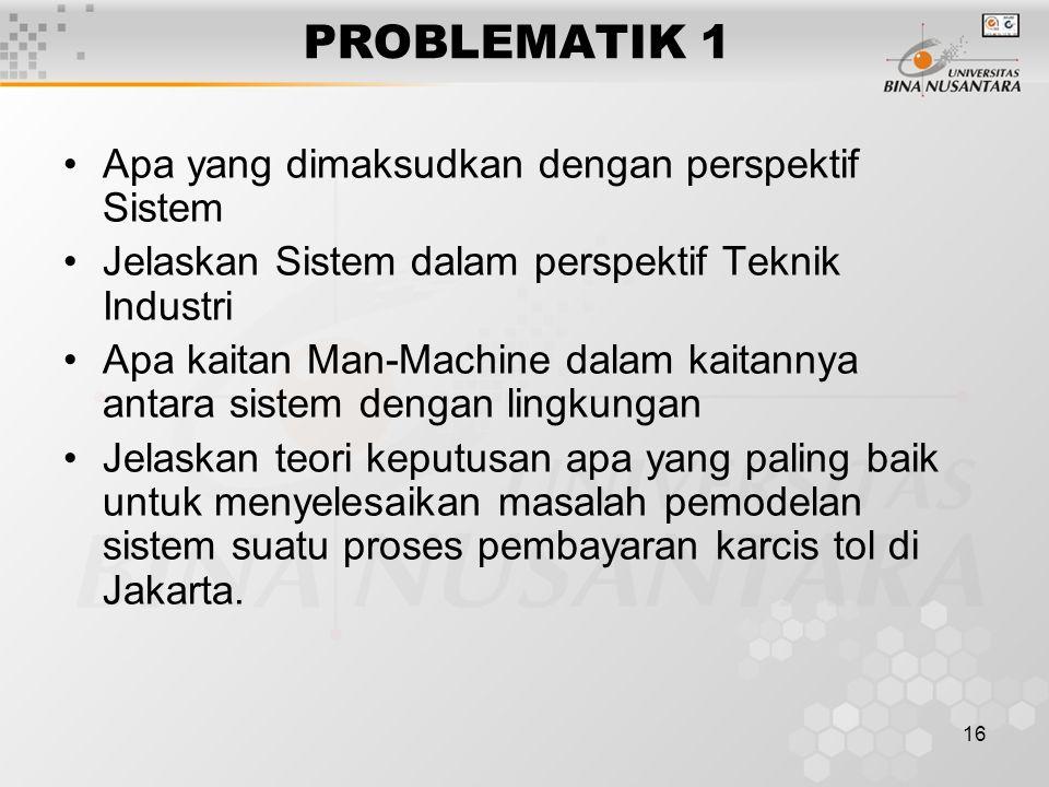 16 PROBLEMATIK 1 Apa yang dimaksudkan dengan perspektif Sistem Jelaskan Sistem dalam perspektif Teknik Industri Apa kaitan Man-Machine dalam kaitannya