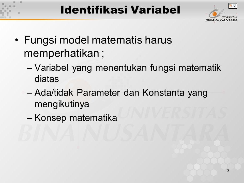 3 Identifikasi Variabel Fungsi model matematis harus memperhatikan ; –Variabel yang menentukan fungsi matematik diatas –Ada/tidak Parameter dan Konsta