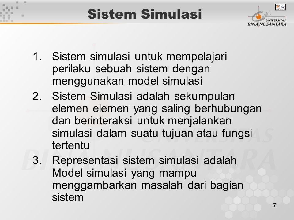 7 Sistem Simulasi 1.Sistem simulasi untuk mempelajari perilaku sebuah sistem dengan menggunakan model simulasi 2.Sistem Simulasi adalah sekumpulan ele