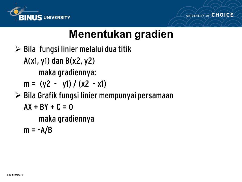 Bina Nusantara Menentukan gradien  Bila fungsi linier melalui dua titik A(x1, y1) dan B(x2, y2) maka gradiennya: m = (y2 - y1) / (x2 - x1)  Bila Grafik fungsi linier mempunyai persamaan AX + BY + C = 0 maka gradiennya m = -A/B
