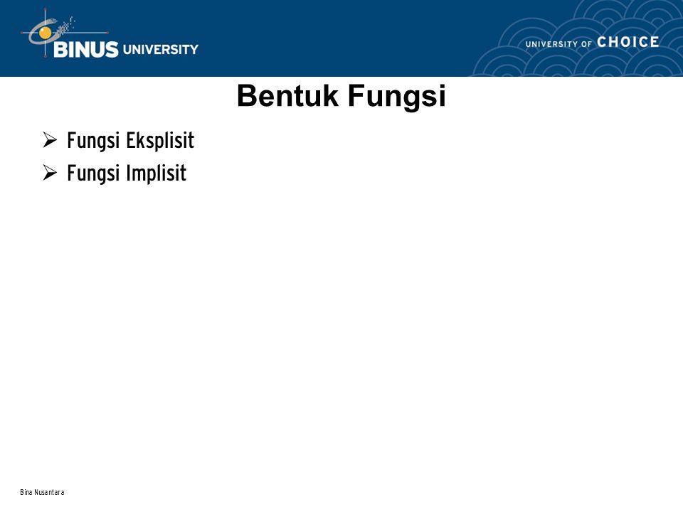 Bina Nusantara Bentuk Fungsi  Fungsi Eksplisit  Fungsi Implisit