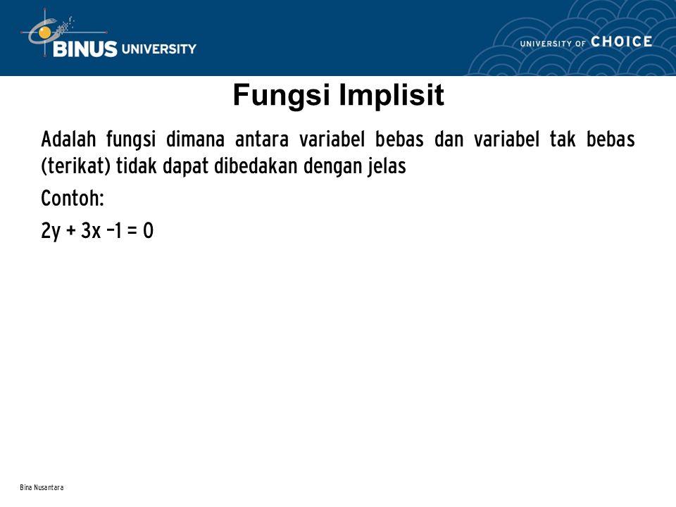 Bina Nusantara Fungsi Implisit Adalah fungsi dimana antara variabel bebas dan variabel tak bebas (terikat) tidak dapat dibedakan dengan jelas Contoh: 2y + 3x –1 = 0
