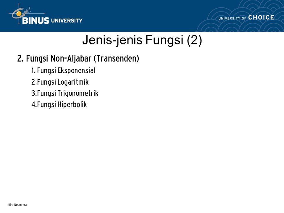 Bina Nusantara Jenis-jenis Fungsi (2) 2. Fungsi Non-Aljabar (Transenden) 1. Fungsi Eksponensial 2.Fungsi Logaritmik 3.Fungsi Trigonometrik 4.Fungsi Hi